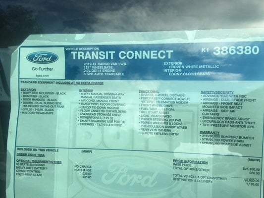 Brondes Ford Toledo >> 2019 Ford Transit Connect XL 2.0L 100A Dual Side Door ...